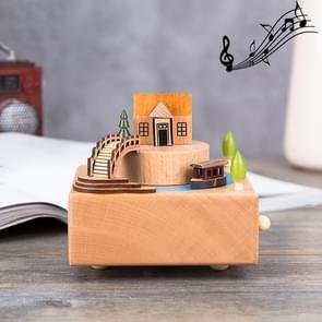 Jiangnan Ancient House Shape Home Decor Originality  Wooden Musical  Boxes