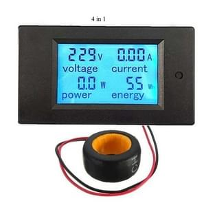 PZEM-061 4 in 1 DC digitaal Display Meter spanning meten Instrument, 80-260V AC, 100A(Black)