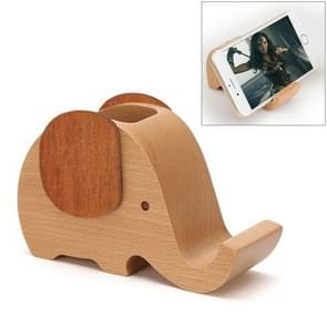 Houten Cute olifant Multi-functional Offical Mini lui beugel telefoon houder pennenhouder
