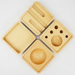 Houten Multi-functional Offical Mini lui beugel telefoon houder pennenhouder opbergdoos