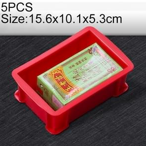 5 PCS Thick Multi-function Material Box Brand New Flat Plastic Parts Box Tool Box, Size: 15.6cm x 10.1cm x 5.3cm(Red)