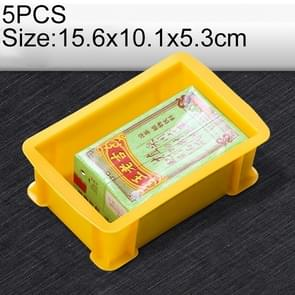5 PCS Thick Multi-function Material Box Brand New Flat Plastic Parts Box Tool Box, Size: 15.6cm x 10.1cm x 5.3cm(Yellow)