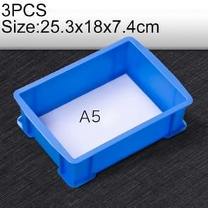 3 PCS Thick Multi-function Material Box Brand New Flat Plastic Parts Box Tool Box, Size: 25.3cm x 18cm x 7.4cm(Blue)
