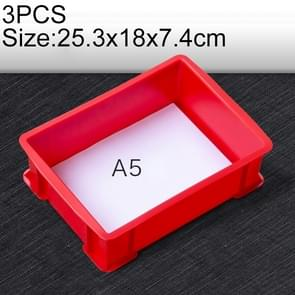 3 PCS Thick Multi-function Material Box Brand New Flat Plastic Parts Box Tool Box, Size: 25.3cm x 18cm x 7.4cm(Red)