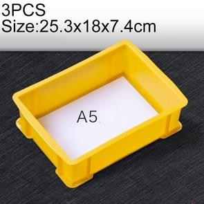 3 PCS Thick Multi-function Material Box Brand New Flat Plastic Parts Box Tool Box, Size: 25.3cm x 18cm x 7.4cm(Yellow)