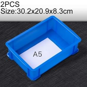 2 PCS Thick Multi-function Material Box Brand New Flat Plastic Parts Box Tool Box, Size: 30.2cm x 20.9cm x 8.3cm(Blue)