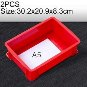 2 PCS Thick Multi-function Material Box Brand New Flat Plastic Parts Box Tool Box, Size: 30.2cm x 20.9cm x 8.3cm(Red)