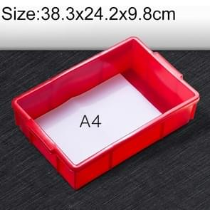 Thick Multi-function Material Box Brand New Flat Plastic Parts Box Tool Box, Size: 38.3cm x 24.2cm x 9.8cm(Red)