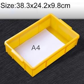 Thick Multi-function Material Box Brand New Flat Plastic Parts Box Tool Box, Size: 38.3cm x 24.2cm x 9.8cm(Yellow)