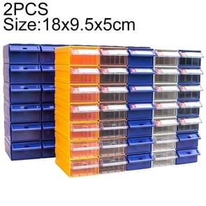 2 PCS Thickened Combined Plastic Parts Cabinet Drawer Type Component Box Building Block Material Box Hardware Box, Random Color Delivery, Size: 18cm x 9.5cm x 5cm