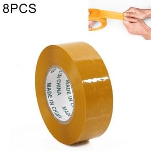 8 PCS 45mm Width 25mm Thickness Package Sealing Packing Tape Roll Sticker(Yellow)