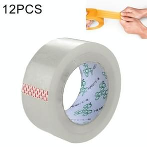 12 PCS 48mm Width 15mm Thickness Package Sealing Packing Tape Roll Sticker(Clear White)