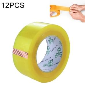 12 PCS 48mm Width 15mm Thickness Package Sealing Packing Tape Roll Sticker(Transparent Yellow)