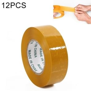 12 PCS 48mm Width 15mm Thickness Package Sealing Packing Tape Roll Sticker(Yellow)