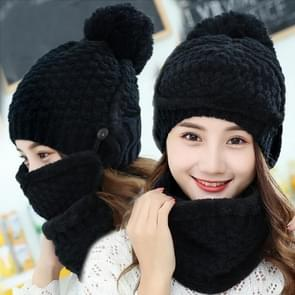 Winter Thick and Plush Warm Ear Protection Wool Hats Set, Windproof Winter Mask + Scarf + Hat for Female (Black)