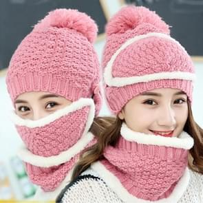 Winter Thick and Plush Warm Ear Protection Wool Hats Set, Windproof Winter Mask + Scarf + Hat for Female (Pink)