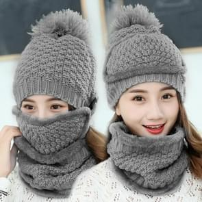 Winter Thick and Plush Warm Ear Protection Wool Hats Set, Windproof Winter Mask + Scarf + Hat for Female (Grey)