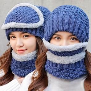 Winter Thick and Plush Warm Ear Protection Wool Hats Set, Windproof Winter Mask + Scarf + Hat for Female (Blue)