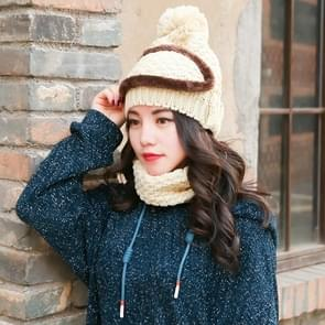 Winter Thick and Plush Warm Ear Protection Wool Hats Set, Windproof Winter Mask + Scarf + Hat for Female (Beige)