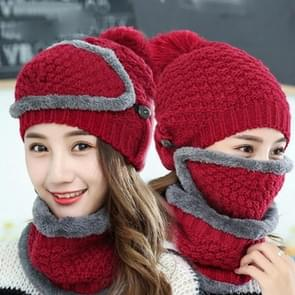 Winter Thick and Plush Warm Ear Protection Wool Hats Set, Windproof Winter Mask + Scarf + Hat for Female (Red)