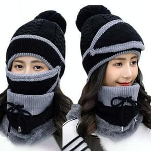 Winter Thick and Plush Warm Ear Protection knitted Hats Set, Windproof Winter Mask + Scarf + Hat for Female (Black)