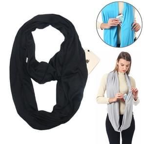 Women Solid Winter Infinity Scarf Pocket Loop Zipper Pocket Scarves (Black)