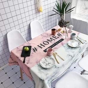 Marble and HOME Pattern Waterproof Anti-scalding Cotton and Linen Table Cloth, Size: 140 x 140cm