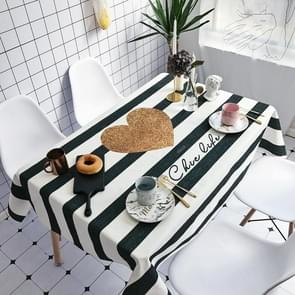 Striped Love Pattern Waterproof Anti-scalding Rectangle Cotton and Linen Table Cloth, Size: 180 x 140cm