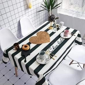 Striped Love Pattern Waterproof Anti-scalding Rectangle Cotton and Linen Table Cloth, Size: 200 x 140cm