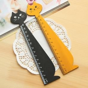 Creative Stationery Cartoon Cat Straight Ruler Wooden Cute Measuring Tools Stationery Cartoon for School Office Supplies, Random Color Delivery