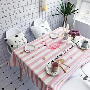 Striped Bird Pattern Waterproof Anti-scalding Rectangle Cotton and Linen Table Cloth, Size: 200 x 140cm