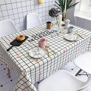 Good Morning Pattern Waterproof Anti-scalding Rectangle Cotton and Linen Table Cloth, Size: 200 x 140cm