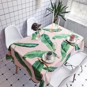 Pink Background Green Leaves Pattern Waterproof Anti-scalding Rectangle Cotton and Linen Table Cloth, Size: 200 x 140cm