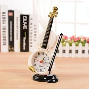 Multi-functional Originality Violin Electronics Pointer Alarm Clock with Pen Holder (White)