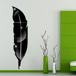 DIY Feather acryl spiegel muur Stickers huis van de stijl kamer muurschildering decoratie Art muur Sticker  grootte: 18*73cm(Black)