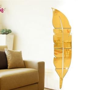 DIY Feather acryl spiegel muur Stickers huis van de stijl kamer muurschildering decoratie Art muur Sticker  grootte: 18*73cm(Gold)