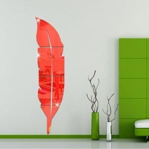 DIY Feather acryl spiegel muur Stickers huis van de stijl kamer muurschildering decoratie Art muur Sticker  grootte: 18*73cm(Red)