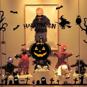 Halloween Wall Stickers Haunted House Spirit Pumpkin Lamp Wall Stickers Display Window  Decoration Sticker Set