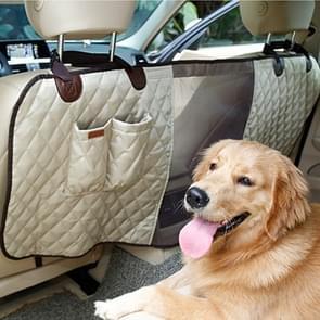Luxe reizen huisdier hond autostoel hek veiligheid huisdier hek achterste rij zetel veiligheid isolatie netto barrièrebescherming grootte: 124 x 46 x 31cm(Beige)