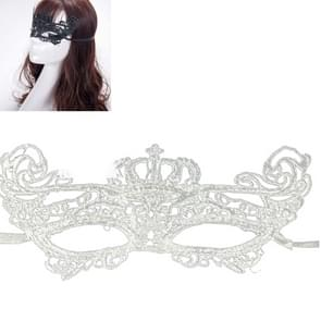 Halloween Masquerade Party Dance Sexy Lady Lace kroon Mask(White)
