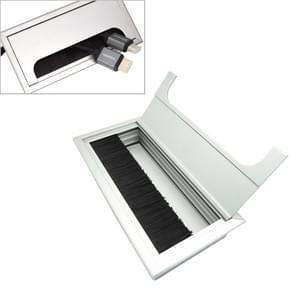 8x16cm Desk Dustproof Aluminum Wire Box Threading Box with Brush