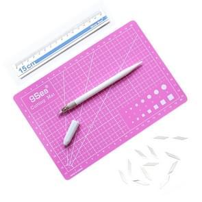 9Sea A5 Cutting Mat Set Cutting Mat & Ruler & Carving Knife(Pink)