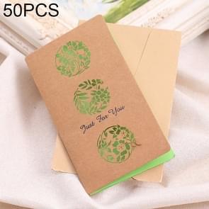 50 PCS Festival Universal Retro Kraft Paper Flower Balls Pattern Greeting Cards