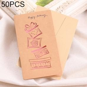 50 PCS Festival Universal Retro Kraft Paper Gifts Pattern Greeting Cards