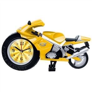 Creative Artistic Motorcycle Alarm Clock Desk Clock Model for Household Shelf Decorations (Yellow)