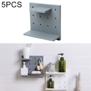 5 PCS Plastic Board Living Room Bathroom Kitchen Wall Decoration Storage Shelf(Grey)