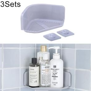 3 Sets Bathroom Kitchen Corner Wall Hanging Storage Shelf(Grey)