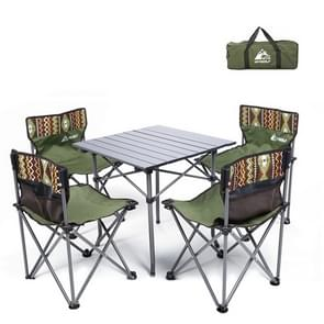 5 in 1 Hewolf 1746 Outdoor Portable Folding Table Chair Set(Army Green)