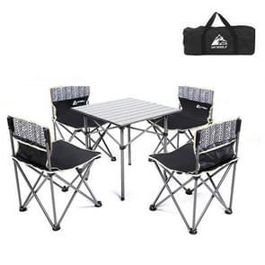 5 in 1 Hewolf 1746 Outdoor draagbare opvouwbare tafel stoel set (zwart)