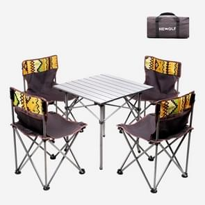 5 in 1 Hewolf 1746 Outdoor Portable Folding Table Chair Set(Coffee)